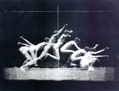 """""""MOTION STUDY: male nude, standing jump to right"""",Thomas Eakins"""