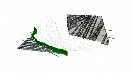 rough exploded axon shows  how the terrain was built in total of 3 sections.  The arpent strips of land were pieces were built in Rhino and the river in Autocad